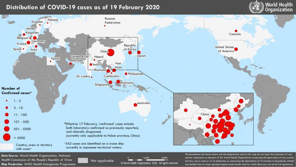 La situazione pandemia Covid-19 il 19-2-20