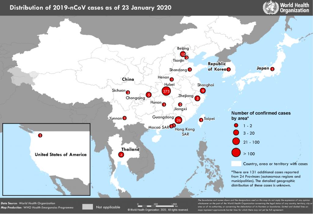 Situazione pandemia Covid-19 in Cina il 23-1-20