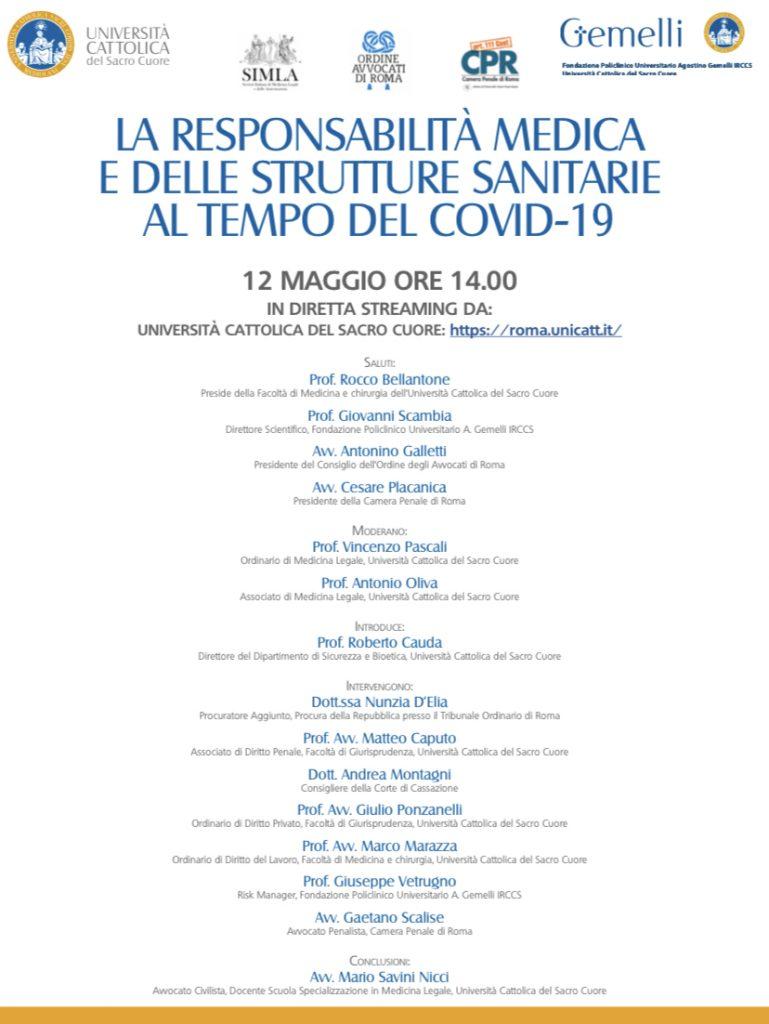 L'Università Cattolica di Roma organizza una diretta streaming il 12 maggio su Med Mal e Covid 19