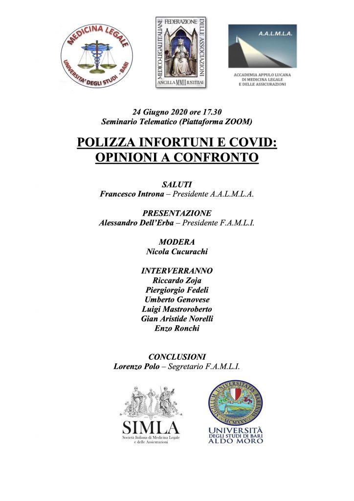 Con il patrocinio SIMLA e FAMLI, AALMLA organizza un seminario su polizza infortuni e infezione Covid