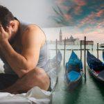 Uomo sul letto preoccupato con sfondo laguna di Venezia.